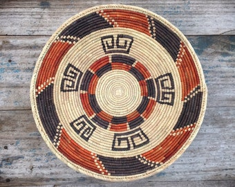 Shallow Woven Basket Beige and Brown Bohemian Decor, Southwestern Decor Native Style Coiled Basket