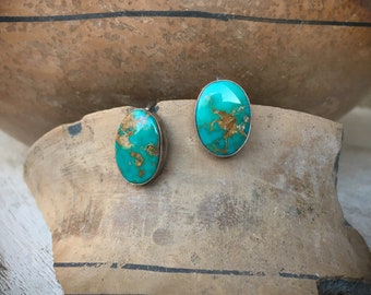 1950s Turquoise Sterling Silver Earrings Screw Back, Native American Indian Jewelry, Old Pawn