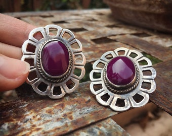 Vintage Mexican 925 Silver Purple Agate Earring Posts for Women, Taxco Jewelry Sterling Silver