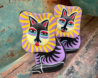 Two Carved Painted Wood Figurines Laurel Burch Cat, Gift for Leo Zodiac, Shelf Accent Desk Decor