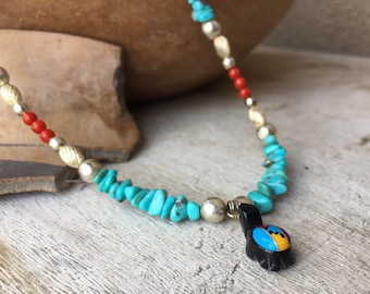 Silver Bead Turquoise Nugget Coral Bead Necklace with Turtle Inlay Pendant, Southwestern Jewelry