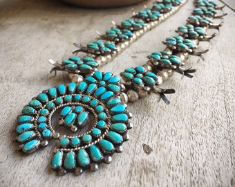Vintage 130gm Zuni Squashblossom Necklace Earring Set for Women, Native American Indian Jewelry, Old Pawn
