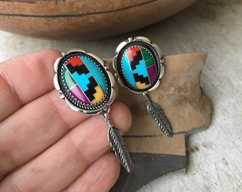 Sterling Silver Channel Inlay Turquoise Earrings with Feather, Native American Indian Jewelry