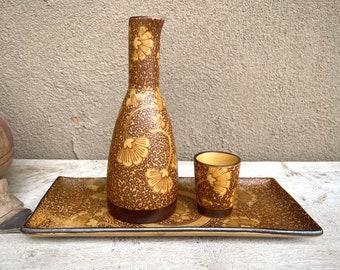 Traditional Japanese Sake Set, One Cup Bottle Tray, Gingko Flower Design, Yellow Brown Stoneware