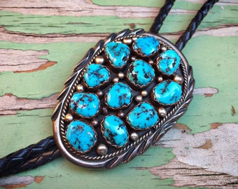 Vintage Authentic Navajo Turquoise Bolo Tie for Men or Women Native American Indian Jewelry