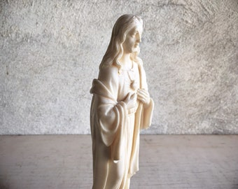 Jesus Christ Sacred Heart Alabaster Figurine on Marble Base, Catholic Religious Art, Confirmation Gift