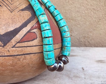 1970s Turquoise Thick Disc Heishi Silver Bead Necklace for Women Men Unisex Jewelry, Native American Indian