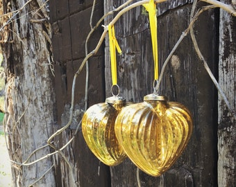 Pair of Vintage Yellow Gold Mercury Glass Christmas Ornament Kugel Style Heart Ornament