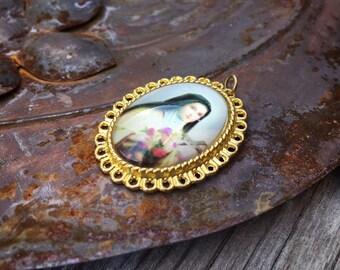 Vintage Saint Therese Little Flower Holy Medallion in Gold Tone Bezel, Catholic Gifts, Holy Charm Pendant