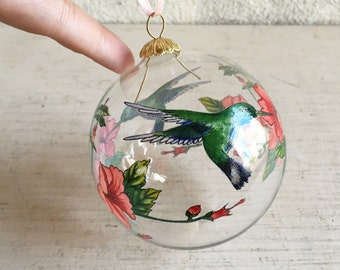 Set of Three Hand Painted Hummingbird Glass Ornaments Green and Pink, Christmas Tree Clear Orb Bulb