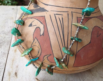 """1950s Navajo Stone Turquoise Nugget and Heishi 25"""" Necklace, Vintage Native American Indian Jewelry"""