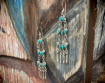 Vintage Snake Eye Turquoise Earrings for Women, Native American Indian Jewelry