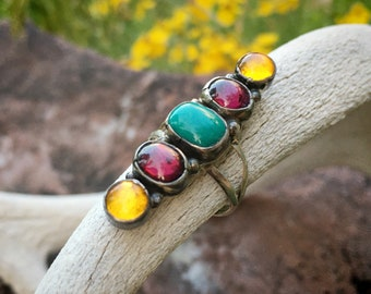 Silver Turquoise Multi Stone Ring with Garnet and Amber Size 8, Native American Indian Jewelry for Women, Anniversary Gift