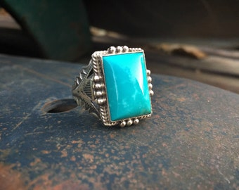 Navajo Michael & Rose Calladitto Turquoise Ring Size 12 Unisex, Native American Indian Jewelry