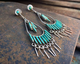Vintage Sleeping Beauty Turquoise Needlepoint Earrings Silver Dangles, Zuni Native America Jewelry