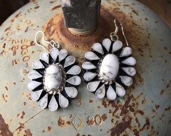 Sterling Silver Howlite Earrings in Cluster Setting, Southwestern Native American Style Jewelry