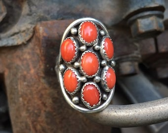 Old Pawn Navajo Coral Snake Eye Shield Ring for Women Size 8, Native American Indian Jewelry