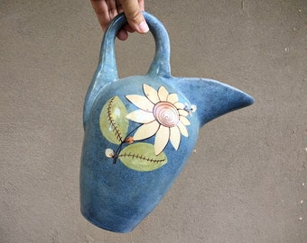 Art Deco Tlaquepaque Pottery Blue Pitcher Floral Design, Southwest Rustic Home Decor, Mexican Jug