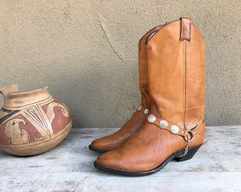 Vintage Cowboy Boot for Women Size 8.5 (Runs Small) Harness Strap with Conchos, Cowgirl Boot