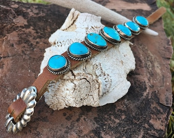Turquoise and Leather Wrist Band for Women or Men, Navajo Native American Indian Jewelry