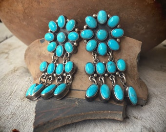 Large Turquoise Cluster Chandelier Earrings for Women, Navajo Native America Indian Jewelry