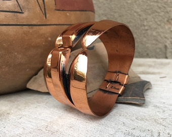 Vintage Copper Renior Hinged Bangle for Women, Chunky Cuff Bracelet, 7th Anniversary Gift