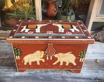 "Vintage 22"" Painted Wood Chest with Elephants Console Table Small Coffee Table, Bohemian Storage Box"