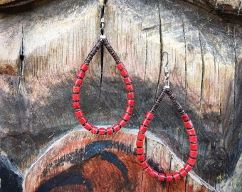 Coral Bead and Pen Shell Heishi Loop Hoop Earrings for Women, Southwestern Native American Indian Jewelry