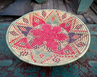 Pink and Purple Shallow Footed Basket Wall Hanging, Woven Coiled Colorful Bohemian Eclectic Decor