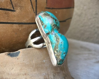 Old Pawn Chunky Turquoise Ring for Women or Men Size 7.75, Navajo Native American Indian Jewelry