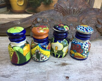 Four Mexican Talavera Pottery Small Cannisters Blue White Kitchen, Southwestern Decor