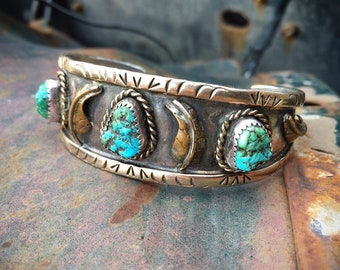 Signed Navajo Turquoise German Silver Cuff Bracelet for Women, Native American Indian Jewelry Old Pawn