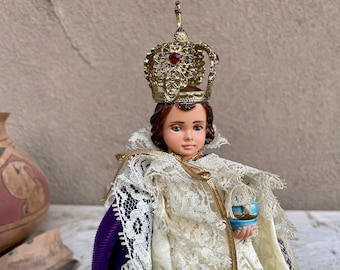 Chalkware Statue Holy Infant of Prague Removable Crown Purple Velvet and Lace Cape, Made in Italy