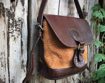 Vintage Small Two-Tone Honey Brown Suede and Dark Leather Feed Bag Women's Purse, Festival Bag