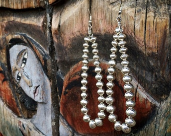 """4"""" Benchmade Navajo Pearl Sterling Silver Bead Earrings for Women, Native America Indian Jewelry"""
