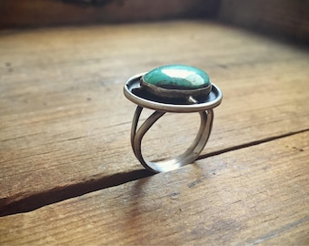 Vintage Turquoise Ring Women's Size 8.75, Turquoise Jewelry, Native American Indian Jewelry