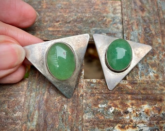 Signed Sterling Silver and Chrysoprase Clip On Earrings, Native American Jewelry Women
