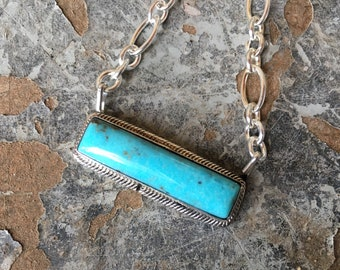 Navajo Esther Spencer Turquoise Small Bar Necklace with Sterling Silver Chain, Native Jewelry