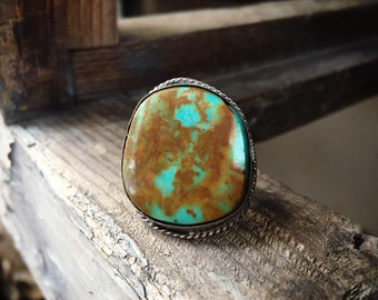 Vintage Turquoise Ring Size 6.5, Native American Indian Jewelry for Women, Navajo Old Pawn