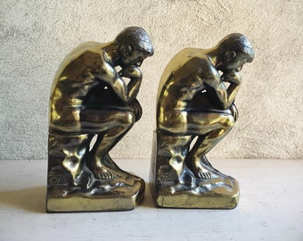 1928 Cast Metal Bronze Rodin's Thinker Bookends Library Decor, Men's Gift for Book Lover