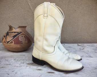 Super Distressed Vintage White Cowboy Boots Women's Size 7 B, Laredo Cowgirl Boots, White Boots
