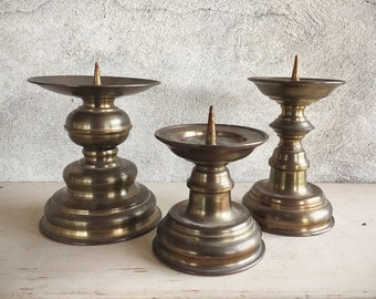 Vintage Set of Three Pricket Candle Holder Handmade in Germany Copper Alloy Brass Pillar Candleholders