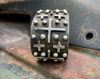 85g Sterling Silver Wide Cuff Bracelet with Cross Design by Navajo Edmund Piaso, Native American