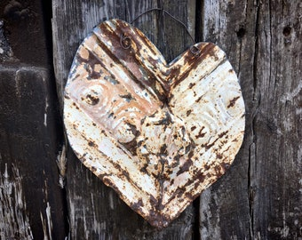 Upcycled Rusty Rustic Metal Heart Wall Hanging, Primitive Farmhouse Decor, Gate Door Decoration