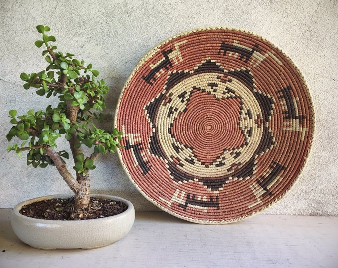 Featured listing image: Shallow Basket for Wall Bohemian Decor, Southwestern Decor, Woven Basket Wall Decor, Basket Weaving Eclectic Decor Modern Decor Wall Hanging
