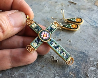 Vintage Italian Micro Mosaic Cross Pendant and Earrings for Women, Necklace Jewelry Set for Christian