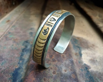 Sterling Silver Stamped Gold Fill Cuff Bracelet w/ Buffalo Design, Navajo Native American Indian