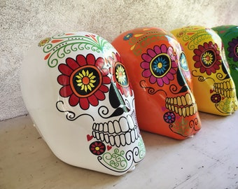 Colorful Ceramic Skull Day of the Dead Decor Party Supply, Halloween Table Centerpiece