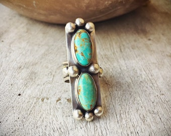 Two Stone Turquoise Ring Size 8 Native American Indian Jewelry, Girlfriend Gift for Women
