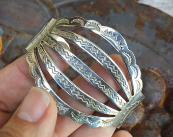 Fred Harvey Era German Silver or Stainless Steel Spread Wire Bracelet, Vintage 1950s Native Style